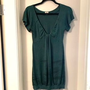 ARITZIA WILFRED Green Deep V Neck Mini Dress